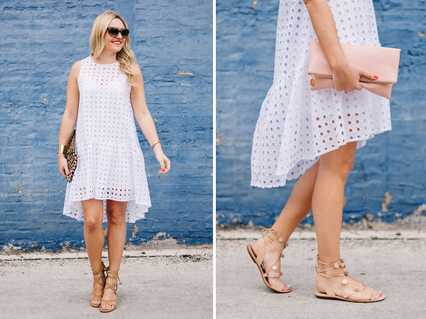 white eyelet dress dressed up dressed down day night