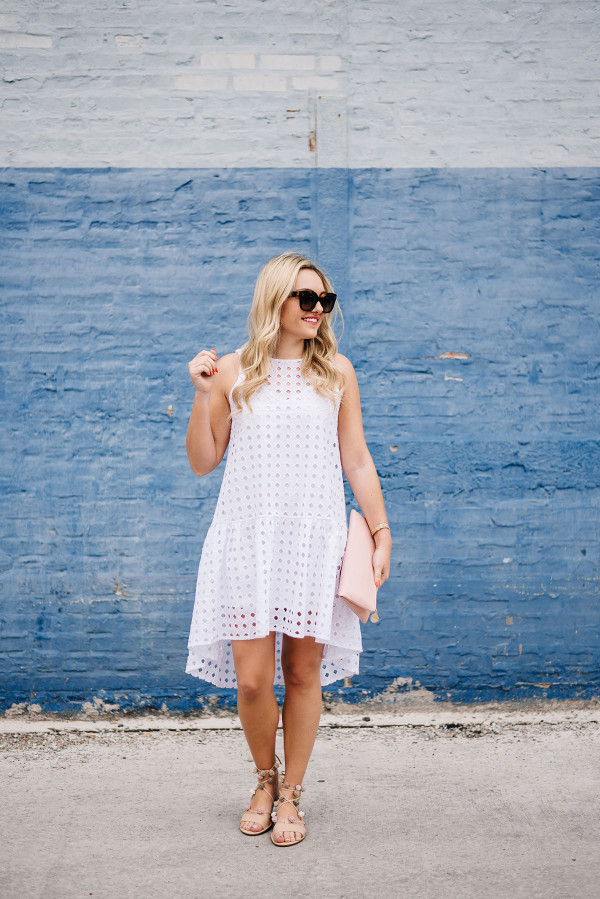 Little White Eyelet Dress Styled Day To Night Bows
