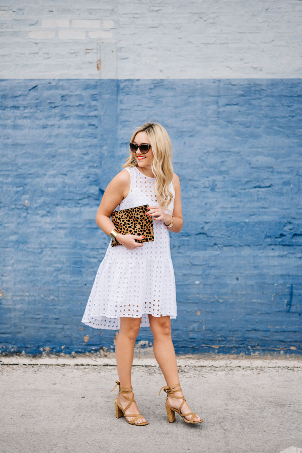 white eyelet dress nighttime outfit