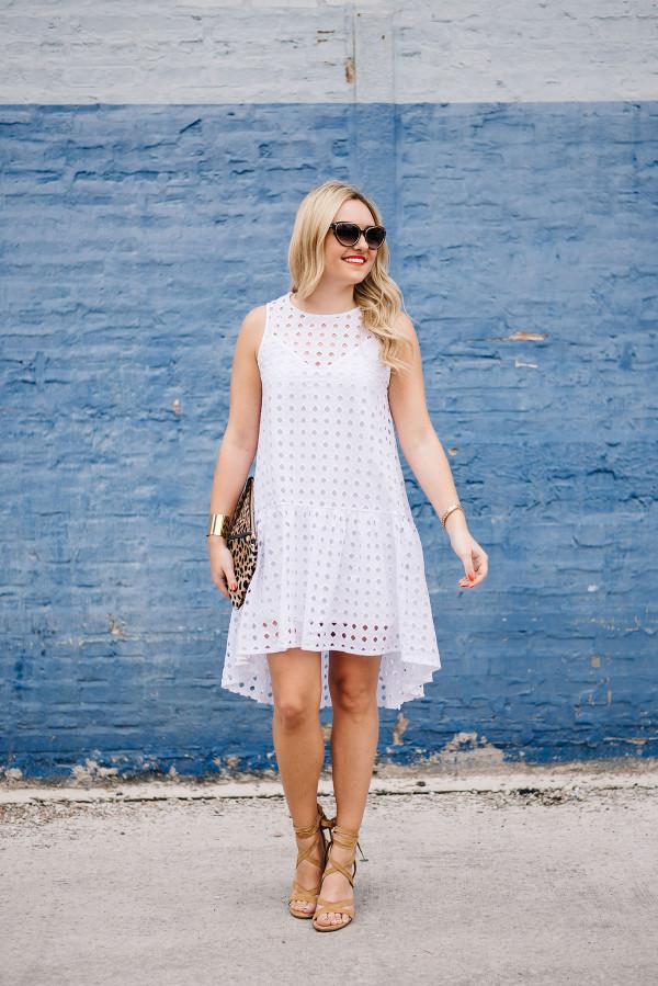 white eyelet dress, tan lace up heels