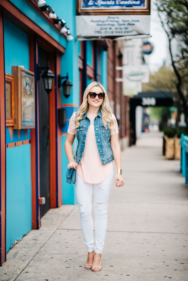 white jeans outfit, denim vest, coral tee shirt, ankle strap sandals