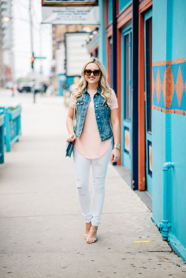 white jeans outfit spring summer, denim vest, coral tee, ankle strap heels