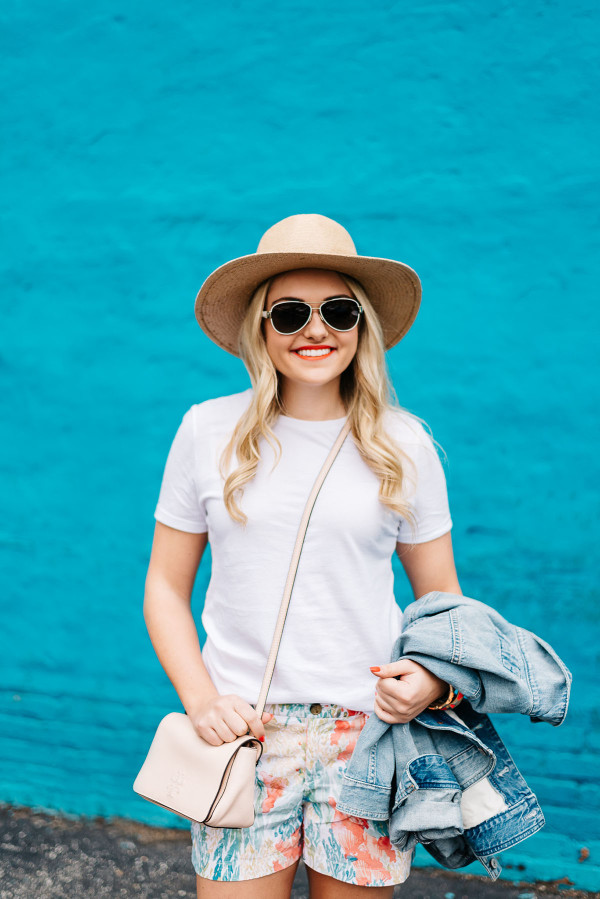 white tee shirt outfit ideas, farmers market, straw hat, crossbody bag