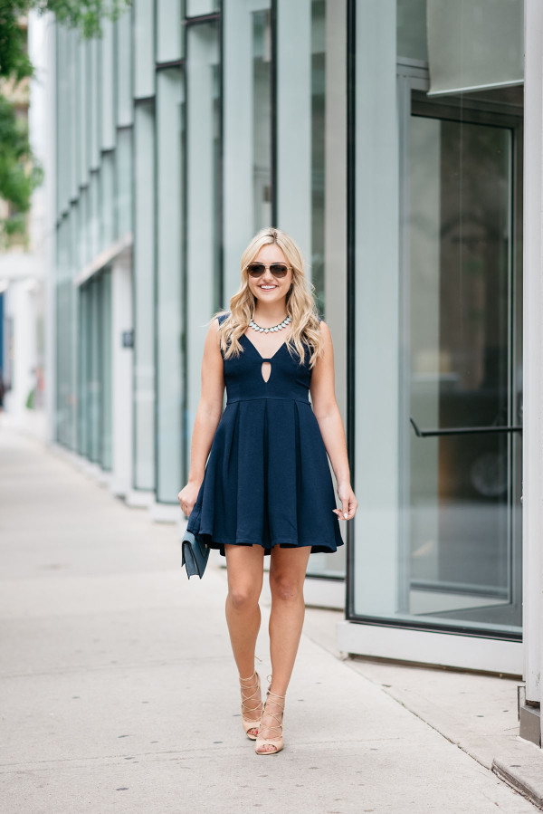 navy fit and flare dress 1