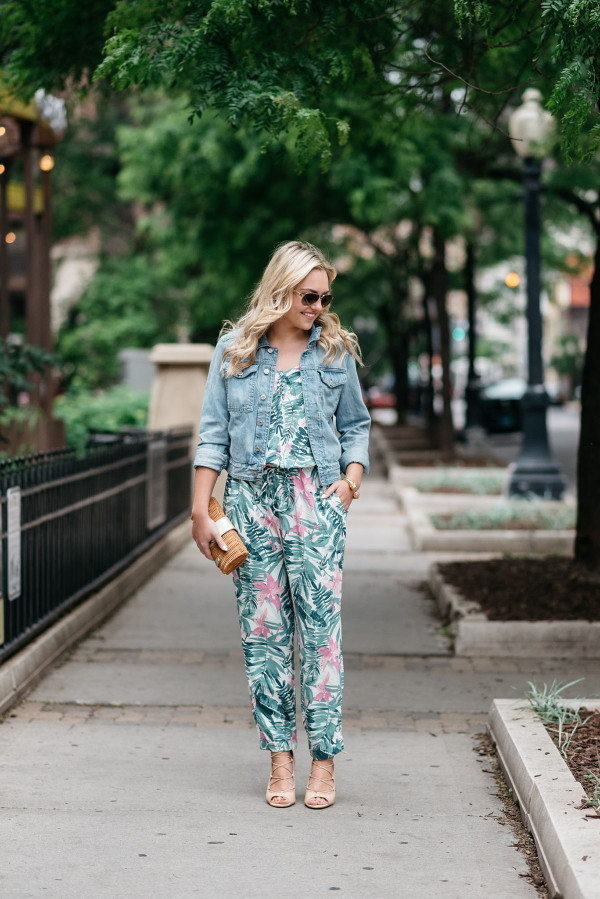 0c65b4f7c8 Bows   Sequins tackling the tricky trend of wearing a printed jumpsuit. She  paired the