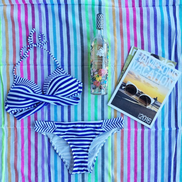 Striped Bikini, Wolffer Vineyards Summer in a Bottle Rosé, Rainbow Striped Beach Blanket