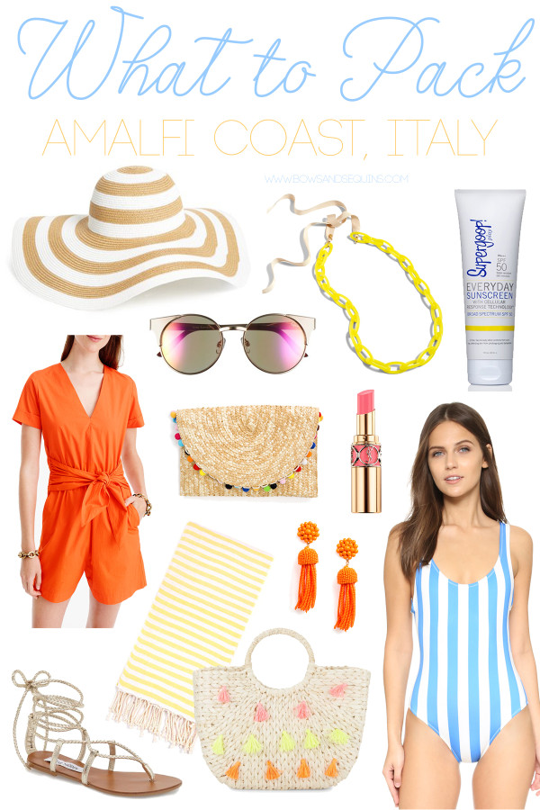 @bowsandsequins' Packing Guide for Going to Italy's Amalfi Coast in the Summertime! Positano, Amalfi, Capri, Sorrento, Maiori, Minori, and more!