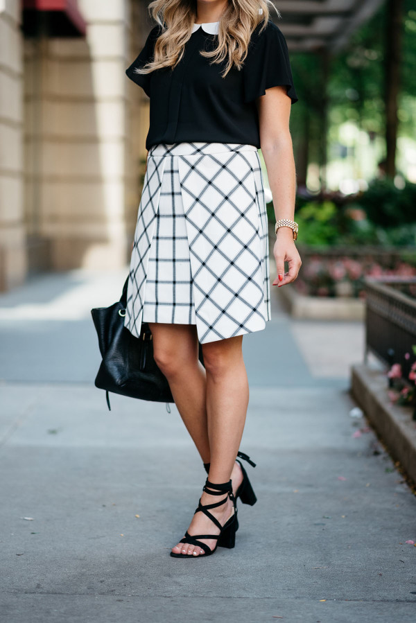 Bows & Sequins styling pieces from the Nordstrom Anniversary Sale! Both the blouse and the windowpane skirt are under $50!