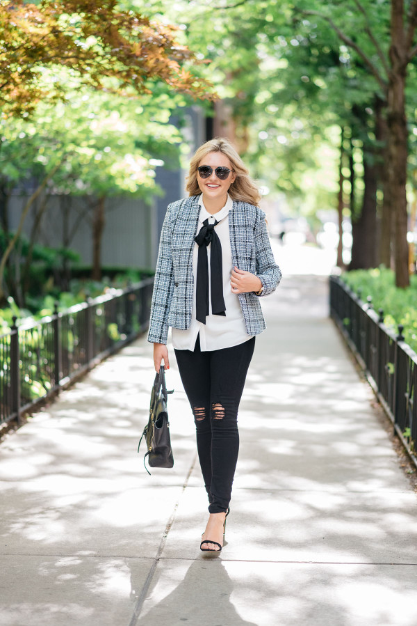 @bowsandsequins styling some of her favorite finds from the Nordstrom Anniversary Sale! A black and blue tweed jacket (under $50!), a bow-tied blouse (also $50!), and designer black jeans (marked down to $134 from $205) make for the perfect fashion-forward causal workday ensemble!