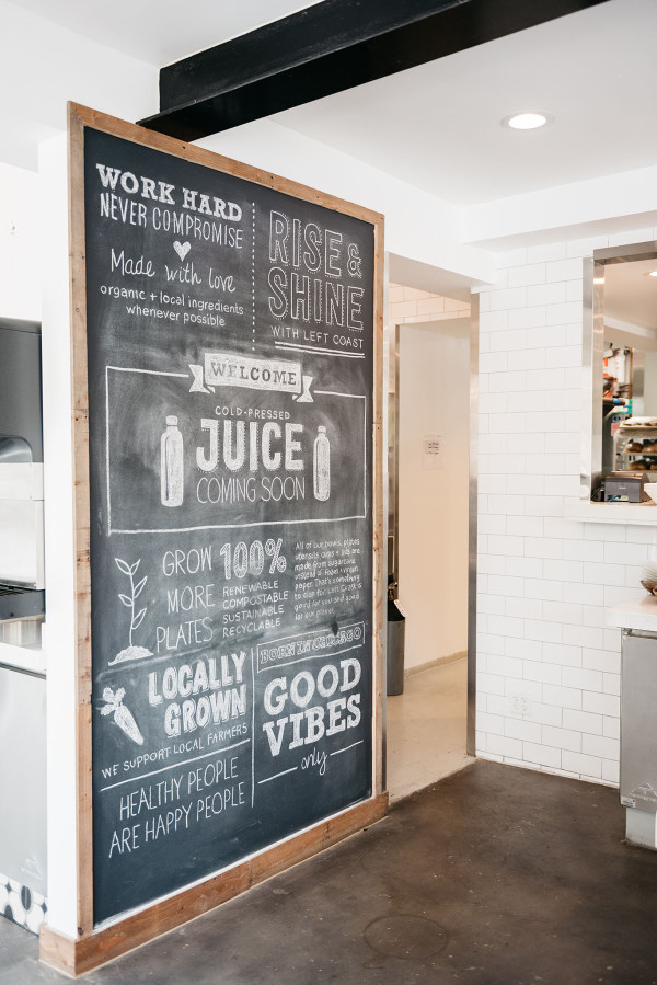 Left Coast Food in Chicago is one of @bowsandsequins' favorite spots for healthy eating and working remotely. Locally grown and good vibes!