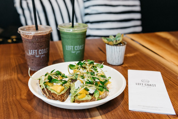 Left Coast Food in Chicago is one of @bowsandsequins' favorite spots for healthy eating and working remotely. Pictured here are two of the smoothies and the avocado toast!