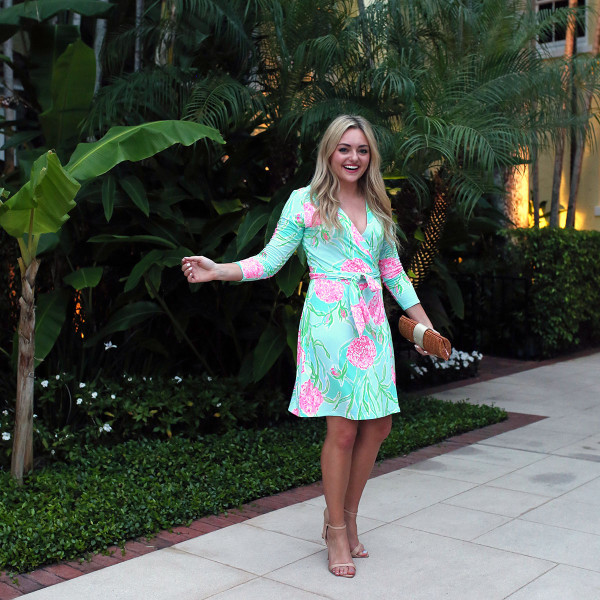 Bows & Sequins wearing a Lilly Pulitzer Wrap Dress at the Brazilian Court hotel in Palm Beach, Florida!