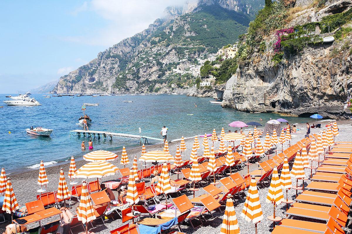 Positano Italy Amalfi Coast Beach Club Umbrellas Bows