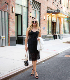 Style blogger Bows & Sequins wearing a little black dress from Express, black Gucci purse, black strap sandal heels, and sunglasses in New York.