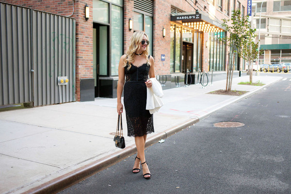 Fashion blogger Bows & Sequins wearing a little black dress, Gucci purse, strap sandals, and sunglasses in New York City.