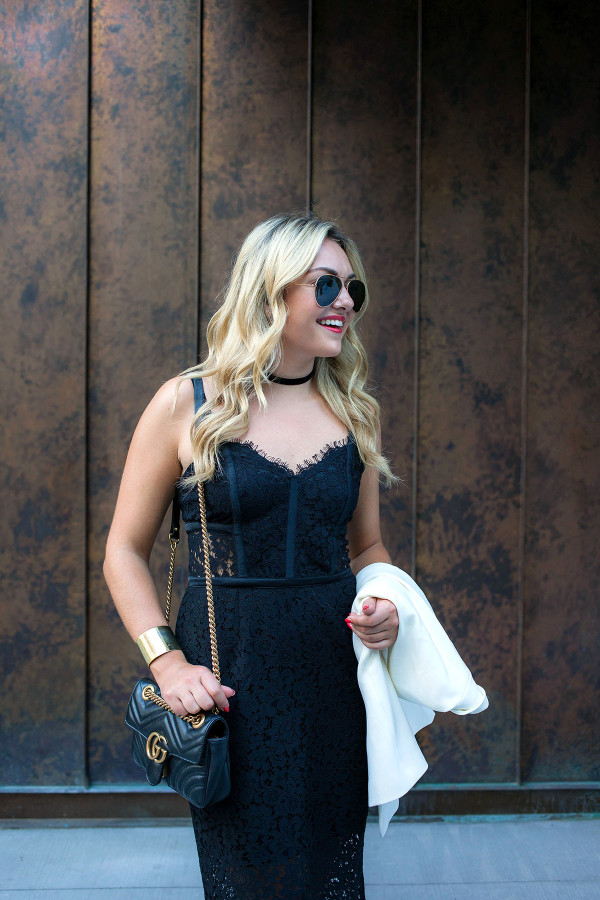 Fashion blogger Bows & Sequins wearing a black dress, black choker necklace, sunglasses, and crossbody purse in NYC.