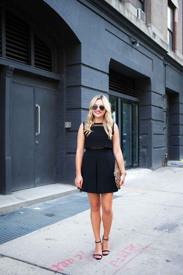 Bows & Sequins wearing the perfect LBD ... It's a faux two-piece dress with a lace midriff. Jessica paired it with simple ankle strap sandals and a leopard clutch for a night out!