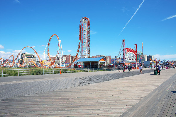 Coney Island Amusement Park Rides on the beach in Brooklyn NYC
