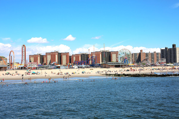 Coney Island Amusement Park Rides on the beach in Brooklyn NYC