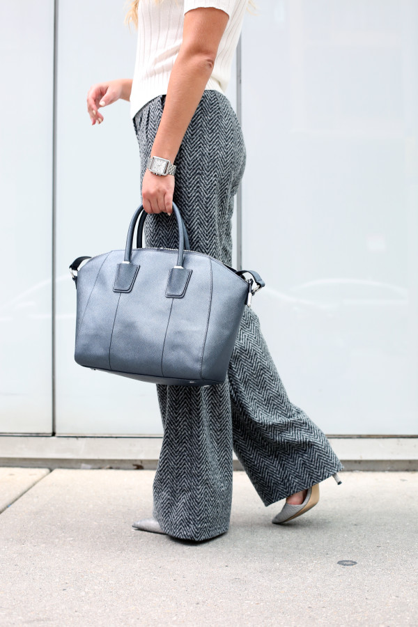Bows & Sequins styling a pair of chevron herringbone wool wide-leg pants for the work place.