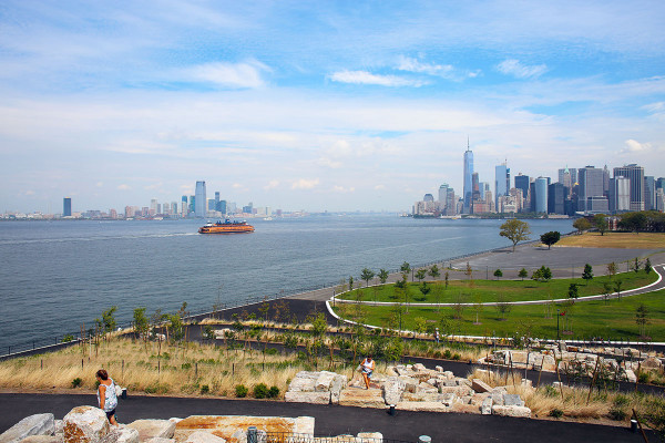 The view of the Manhattan NYC skyline from Governor's Island