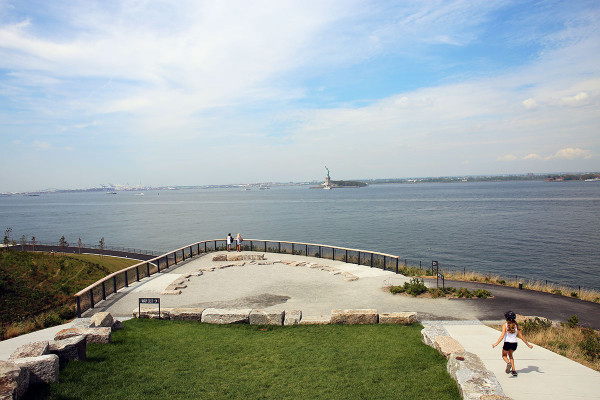 The view of Statue of Liberty from Governor's Island in NYC