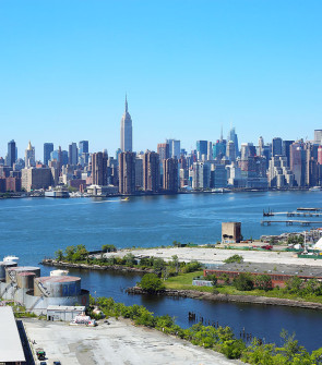 The stunning view of the Manhattan skyline from the room terraces at the new William Vale Hotel in Williamsburg Brooklyn!