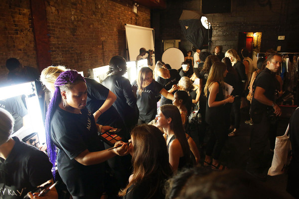 The backstage scene at the spring/summer Tracy Reese presentation during New York Fashion Week with Mary Kay
