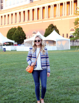 Bows & Sequins styling an outfit that's perfect for a cool college gameday! Orange & Blue striped jacket, lace tank, jeans, and a crossbody bag in school colors.