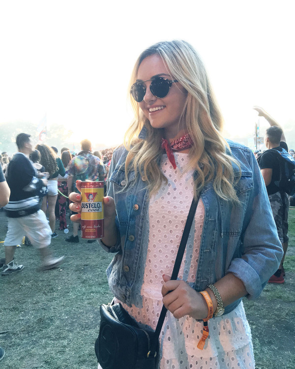Cute Music Festival Outfit: White Dress, Denim Jacket, and Red Bandana