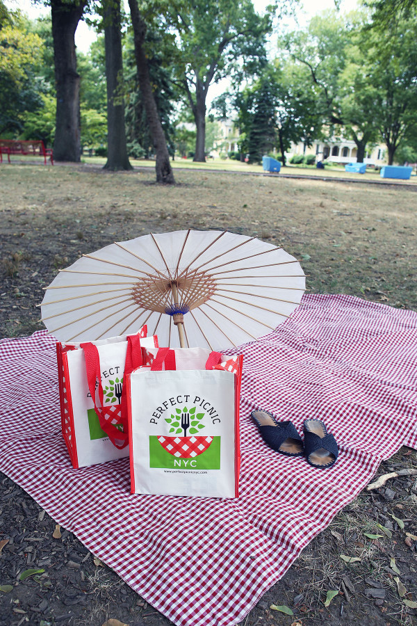Perfect Picnic NYC -- delivers everything you need for a picnic, including a nice picnic blanket and parasol!