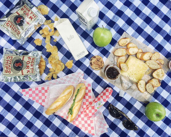 Perfect Picnic NYC -- delivers everything you need for a picnic, including a nice picnic blanket!
