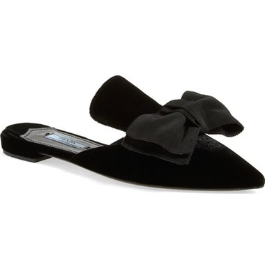 Must-Have Fall Trend: Slip-On Loafers // Prada Backless Bow Flats