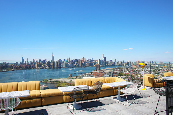 The stunning rooftop view of the Manhattan skyline from the new bar, Gaslight, at the William Vale Hotel in Williamsburg Brooklyn!