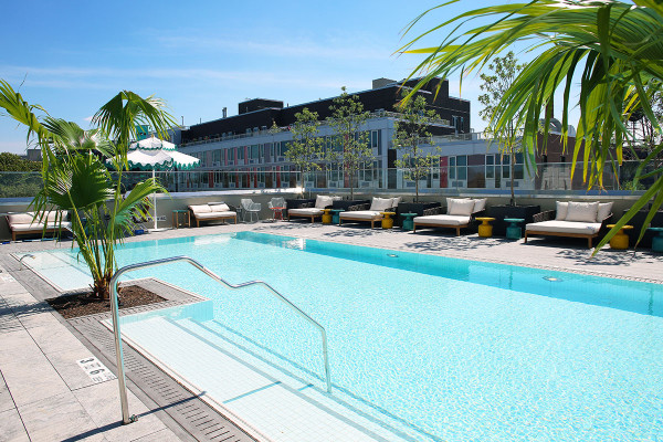 The gorgeous pool at the new William Vale Hotel in Williamsburg, Brooklyn in NYC.