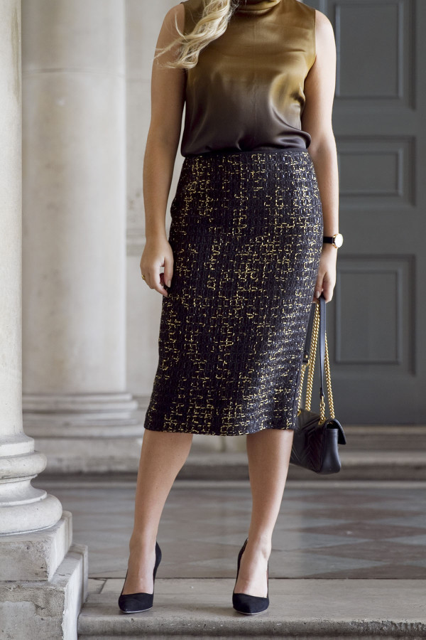 Bows & Sequins styling a black and gold tweed pencil skirt from Lafayette 148.