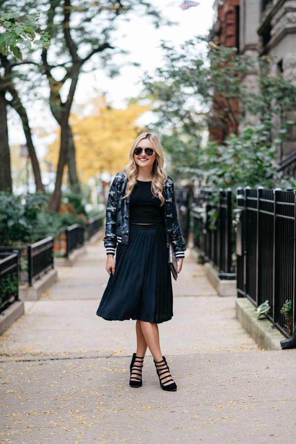 Sequin Bomber Jacket And Pleated Black Navy Skirt Bows Sequins