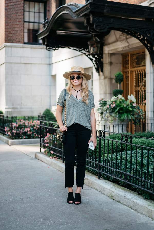 Bows & Sequins styling a casual outfit for fall. Janessa Leone Hat, Oversized Tee, Strappy Bralette, Frame Frayed Hem Jeans, Topshop Suede Mules, Illesteva Sunglasses, Gucci Bag with Chain Strap