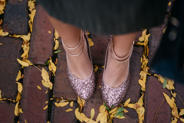 Bows & Sequins styling a pair of Kate Spade glitter heels for fall.