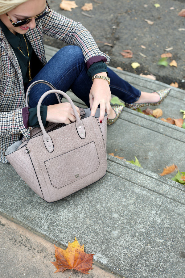 Bows & Sequins styling the Ivanka Trump Tribeca Embossed Leather Tote.