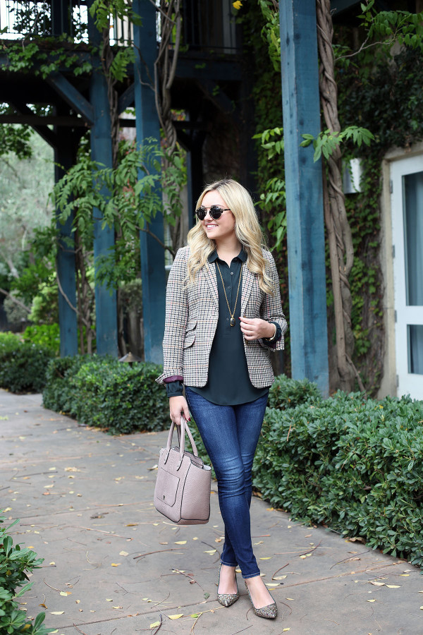 Bows & Sequins styling a fall outfit for the office: Joules Plaid Blazer, LOFT Green Blouse, Rag & Bone Skinny Jeans, J.Crew Glitter Pumps, Illesteva Sunglasses, and an Ivanka Trump Tote.
