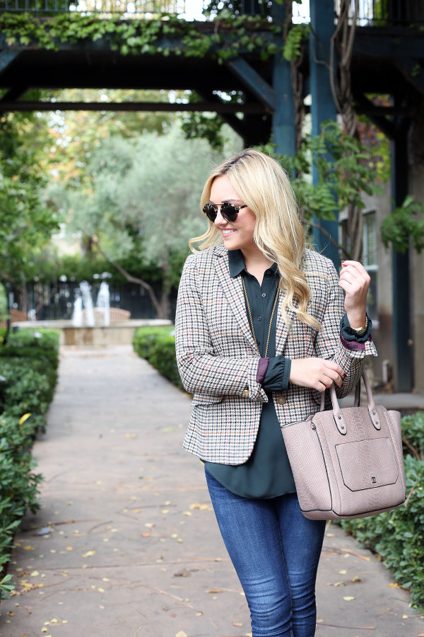 Bows & Sequins styling a fall outfit for the office: Joules Plaid Blazer, LOFT Green Blouse, Rag & Bone Skinny Jeans, Illesteva Sunglasses, and an Ivanka Trump Tote.