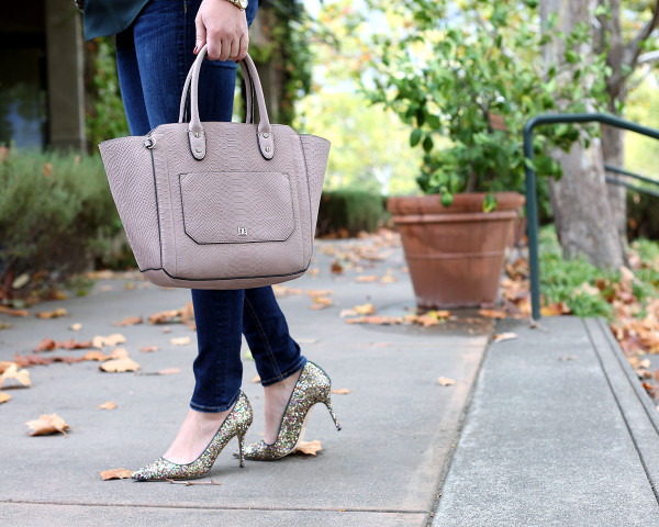 Bows & Sequins styling the Ivanka Trump Tribeca Embossed Leather Tote with skinny jeans and glitter heels.