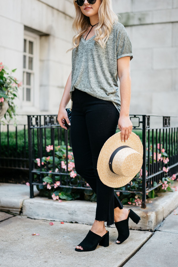 Bows & Sequins styling a casual outfit for fall. Janessa Leone Hat, Oversized Tee, Frame Frayed Hem Jeans, Topshop Suede Mules, Illesteva Sunglasses, Gucci Bag with Chain Strap