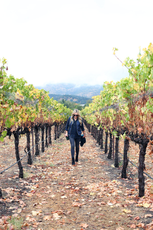 Bows & Sequins wearing a plaid shirt, quilted vest, and a blanket scarf in Napa, California.