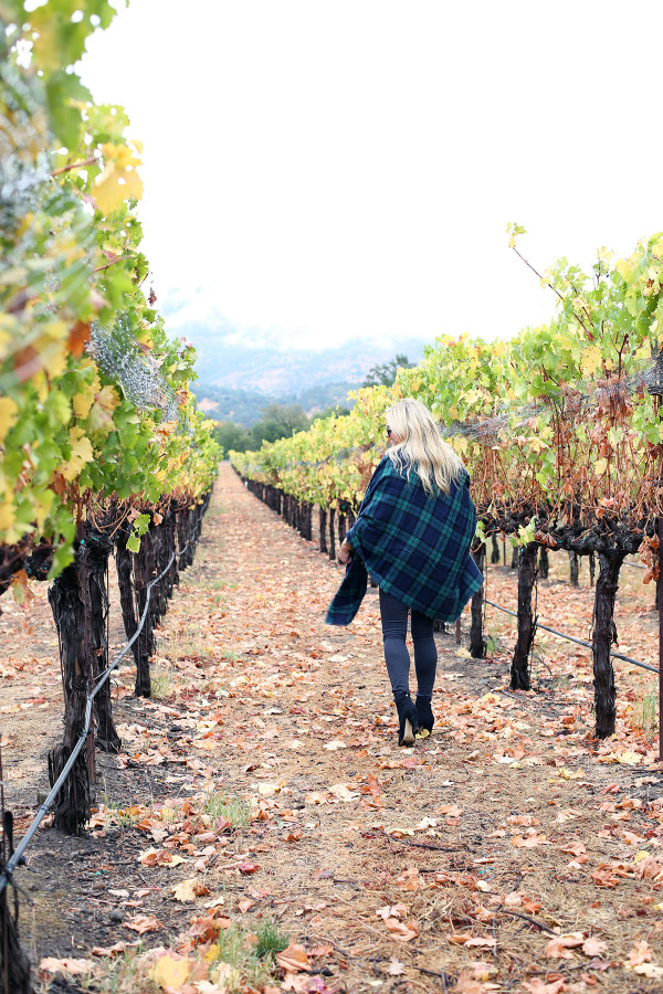 Bows & Sequins wearing a plaid shirt, quilted vest, grey jeans, black booties, and a blanket scarf in Napa, California.