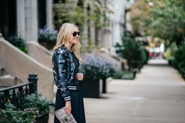Bows & Sequins styling a sequin bomber jacket for fall.