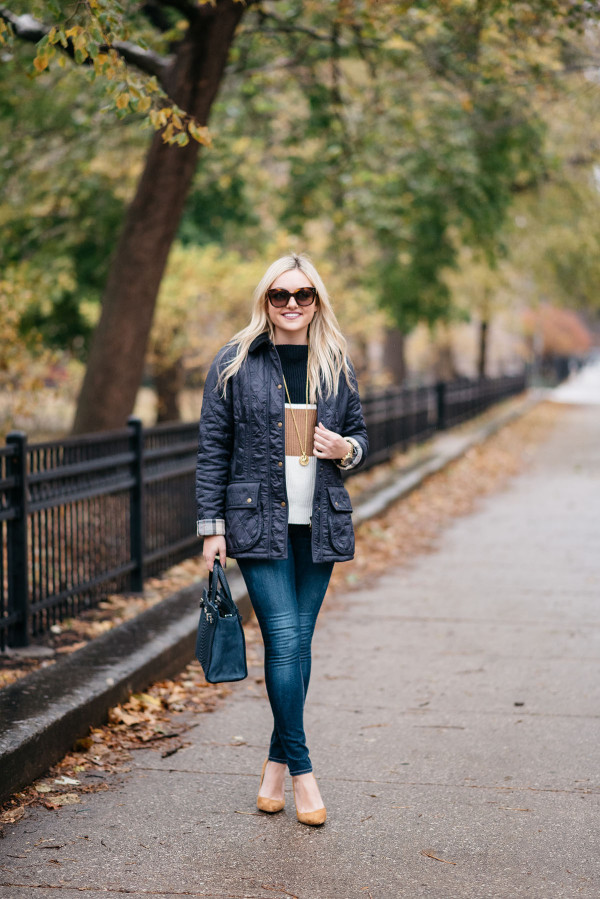 Bows & Sequins wearing a quilted navy Barbour jacket and a striped sweater for Thanksgiving.