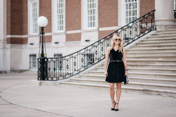 Bows & Sequins styling a velvet dress for holiday parties.