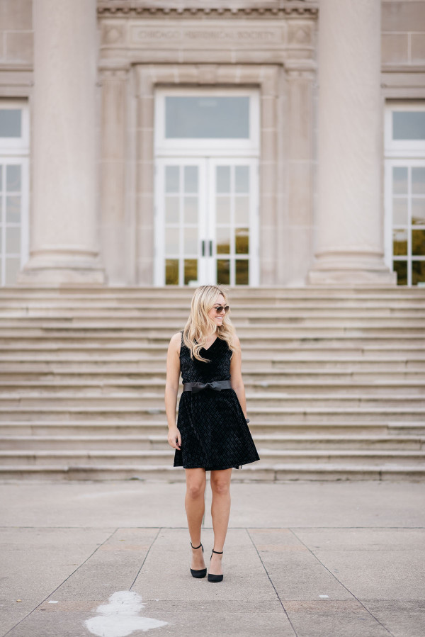 Bows & Sequins styling a velvet fit and flare dress for the holiday season!